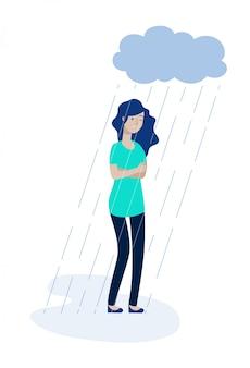Kobieta deszcz chmury. przygnębiona dziewczyna czuje osamotnionej depresji nieszczęśliwego nastoletniego samotność smucenia żalu stresu apatii pojęcie