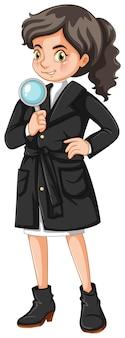 Kobieta detektyw z lupą