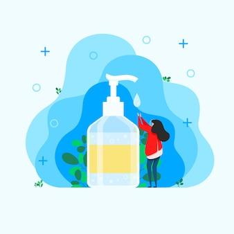 Kobieta dezynfekuje ręce, środek do dezynfekcji rąk, środek do dezynfekcji, mydło do rąk, bakterie i bakterie do rąk, izolowana butelka z odtłuszczaczem do rąk