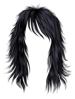 Kobieta długie włosy brunetka czarne kolory.