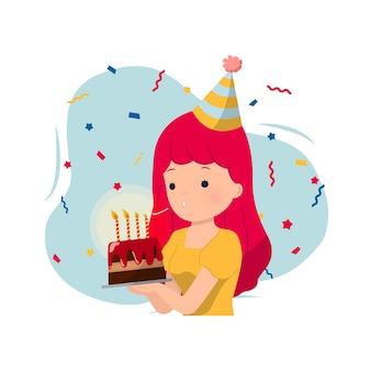 Kobieta dmuchająca świeczkę na tort urodzinowy ozdobiony konfetti. kartkę z życzeniami wszystkiego najlepszego. pomyśl życzenie. postać na białym tle.