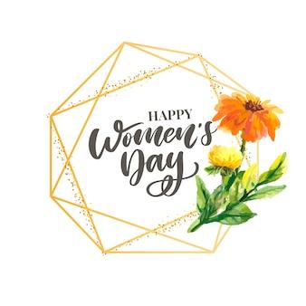 Kobieta dnia tekst projektu z kwiatami i serca na tle kwadratowych.