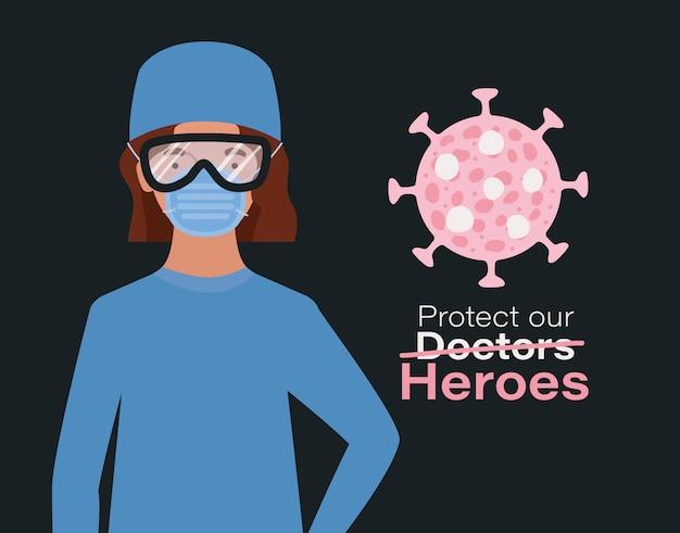 Kobieta doktor bohater w okularach z maską jednolitą i wirusem ncov 2019