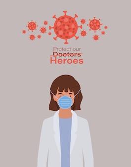 Kobieta doktor bohater z jednolitą maską i wirusem ncov 2019