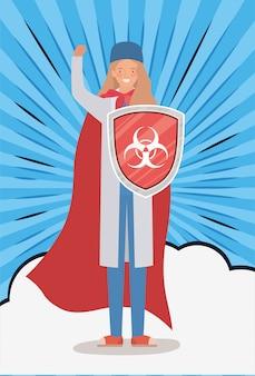 Kobieta doktor bohater z peleryną i tarczą przeciwko projektowi wirusa ncov 2019 objawów choroby epidemicznej covid 19 i ilustracji tematu medycznego