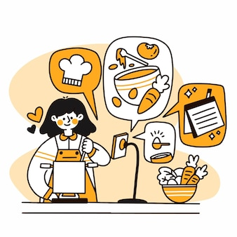 Kobieta doodle gotowania
