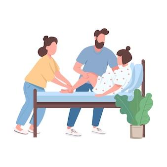 Kobieta dostarcza dziecku płaską postać bez twarzy. profesjonalna pomoc doula. mąż trenuje żonę w porodzie ilustracja kreskówka na białym tle do projektowania grafiki internetowej i animacji