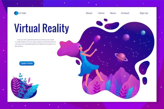 Kobieta doświadczająca wirtualnej rzeczywistości nosząca okulary vr ilustracja. unosząca się dziewczyna w przestrzeni.