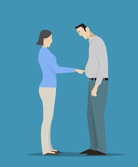 Kobieta dotyka grubego brzucha mężczyzny
