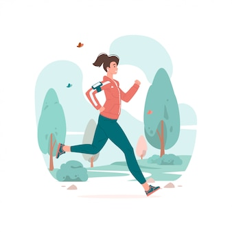 Kobieta działa podczas treningu fitness w parku ilustracji.