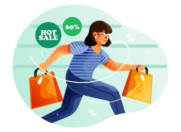 Kobieta działa podczas zakupów