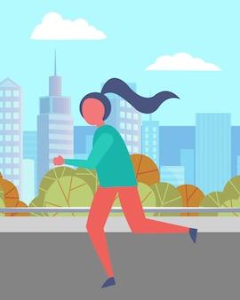 Kobieta działa w parku miejskim, ładny krajobraz miasta