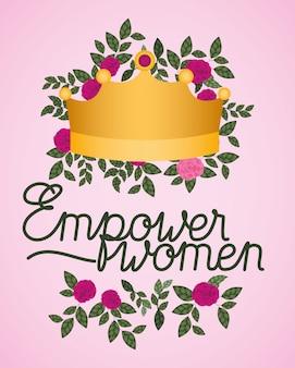 Kobieta dzień celebracja karta z róż i korony