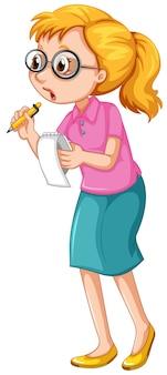 Kobieta dziennikarka notatek