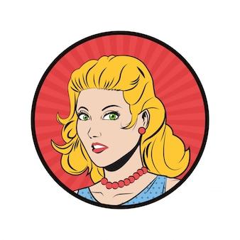 Kobieta dziewczyna kobiece kreskówka pop-artu komiks retro ikona