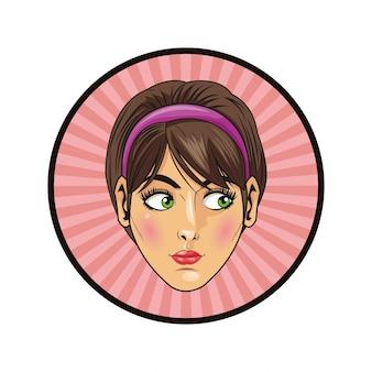 Kobieta dziewczyna kobiece wyrażenie kreskówka pop-artu komiks retro ikona