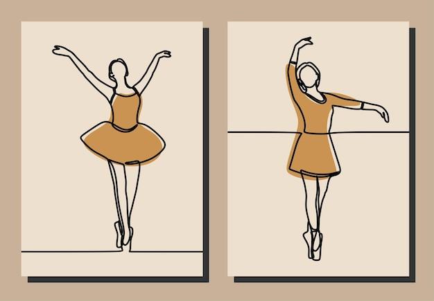 Kobieta dziewczyna sukienka balet oneline ciągła linia sztuki wektor premium zestaw