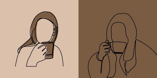 Kobieta dziewczyna trzyma filiżankę kawy w jednej linii ciągłej sztuki premium vector set
