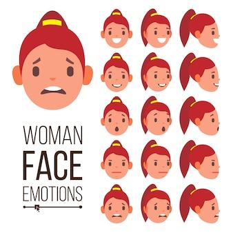 Kobieta emocje wektor. przystojna twarz kobieta. śliczne, radość, śmiech, smutek. dziewczyna avatar psychologiczne portrety