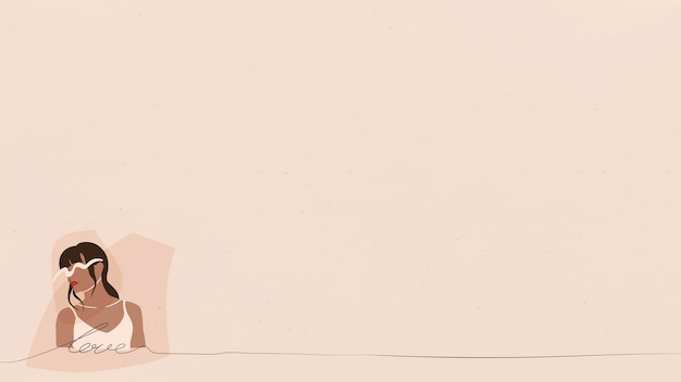 Kobieta fashionistka na beżowym banerze