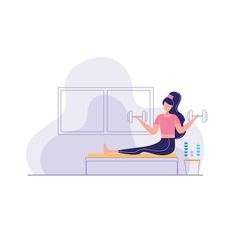 Kobieta fitness fitnes z brzana