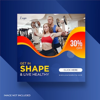 Kobieta fitness siłownia banery społecznościowe