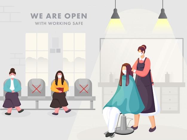 Kobieta fryzjerka i klienci noszący maskę ochronną w salonie piękności lub salonie z zachowaniem dystansu społecznego, aby uniknąć koronawirusa.