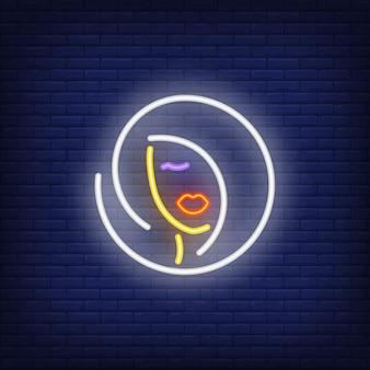 Kobieta fryzurę logo neon znak