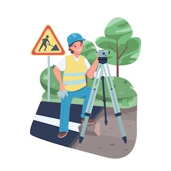 Kobieta geodeta płaski kolor szczegółowy charakter. wesoła pracująca pani ze sprzętem geodezyjnym. kobieta pomiarów na białym tle ilustracja kreskówka do projektowania grafiki internetowej i animacji