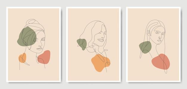 Kobieta głowa styl sztuki oneline