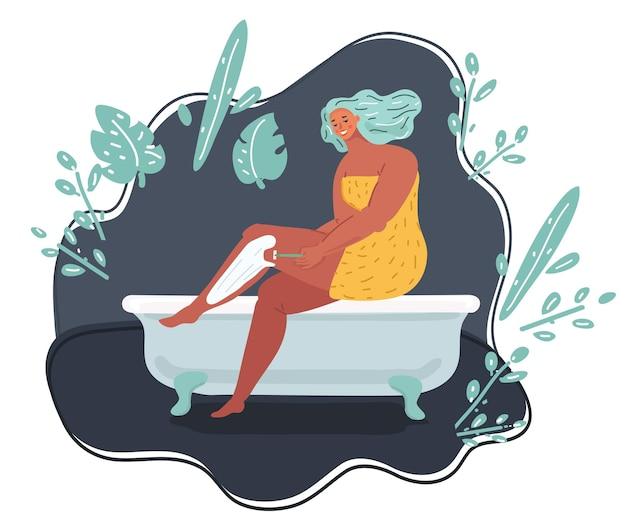 Kobieta goląca nogi w wannie