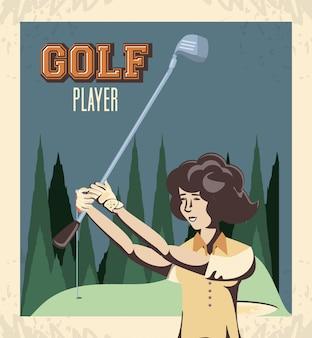 Kobieta golfa w trakcie