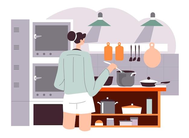 Kobieta gotowania zupy lub wykwintne jedzenie w restauracji lub restauracji. żeńska postać mieszając wrzące naczynie. przygotowywanie posiłków w pracy, robienie śniadań czy obiadów w domu dla rodziny. wektor w stylu płaskiej
