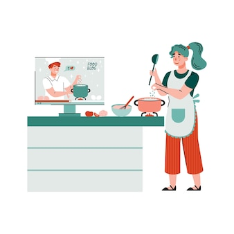 Kobieta Gotowanie Oglądanie Samouczka Kulinarnego Płaski Ilustracja Na Białym Tle Premium Wektorów