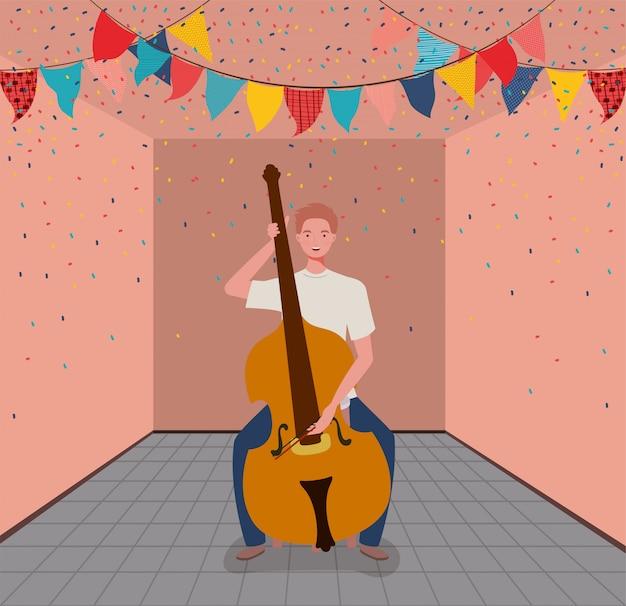 Kobieta gra charakter instrumentu wiolonczela