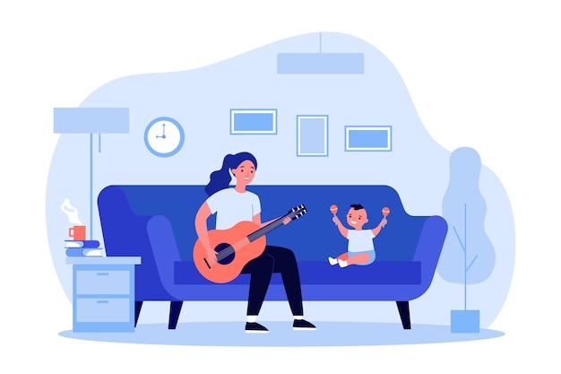 Kobieta gra na gitarze dla dziecka z marakasami. dom, sofa, zabawna ilustracja. koncepcja rozrywki i muzyki na baner, stronę internetową lub stronę docelową