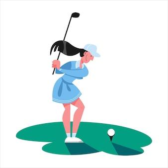 Kobieta gra w golfa. osoba posiadająca klub i piłkę. letnie zawody, gra terenowa. ilustracja