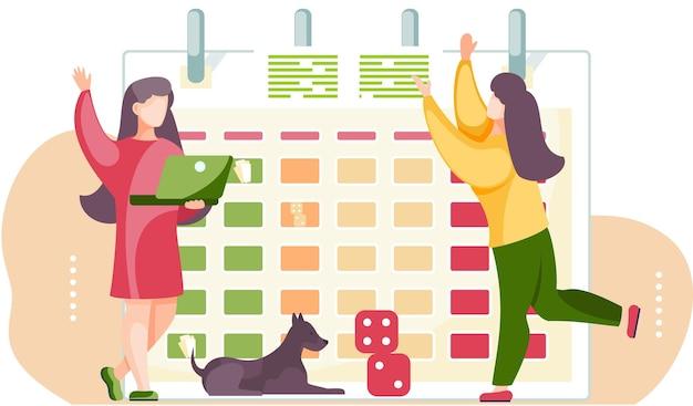 Kobieta gra z kostkami i psem. rozkład jazdy w tle. dziewczyna spędza czas ze zwierzakiem.