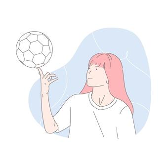 Kobieta gracz futbolu z balową ilustracją