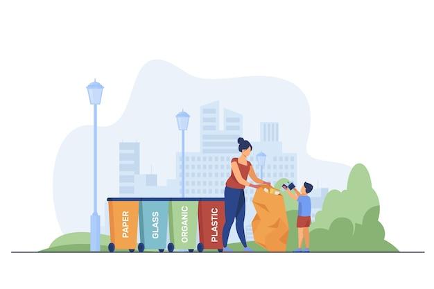 Kobieta i dzieciak sortują śmieci. ludzie posiadający worek na śmieci w pobliżu różnych pojemników płaskich ilustracji wektorowych. sortowanie odpadów, koncepcja zbierania śmieci