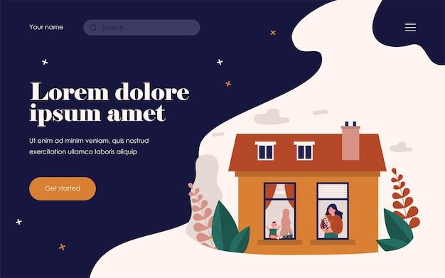 Kobieta i dziecko w oknach sąsiednich mieszkań. roślina, zabawka, dom płaski wektor ilustracja. koncepcja zakwaterowania i sąsiedztwa dla banera, projektu strony internetowej lub strony docelowej