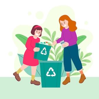 Kobieta i dziewczyna recyklingu