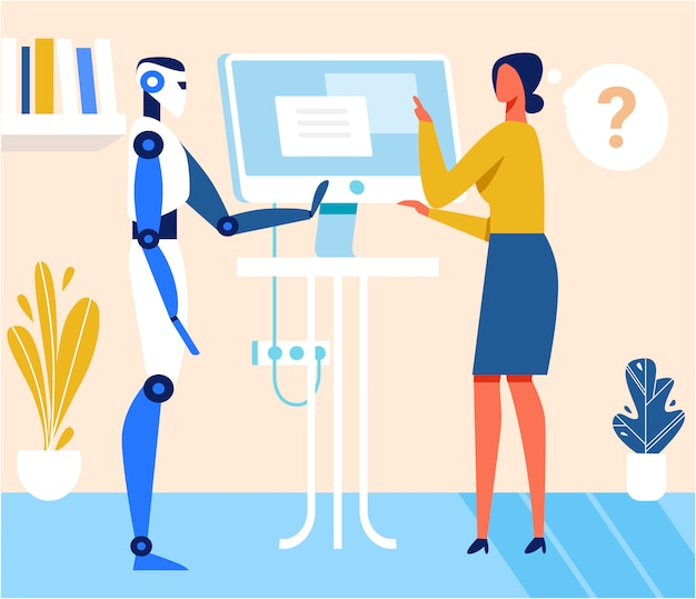 Kobieta i humanoid mówienie stojący w pobliżu komputera