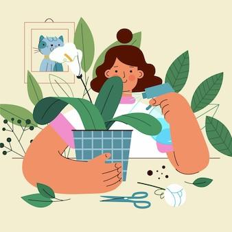 Kobieta i jej zdrowe rośliny w domu