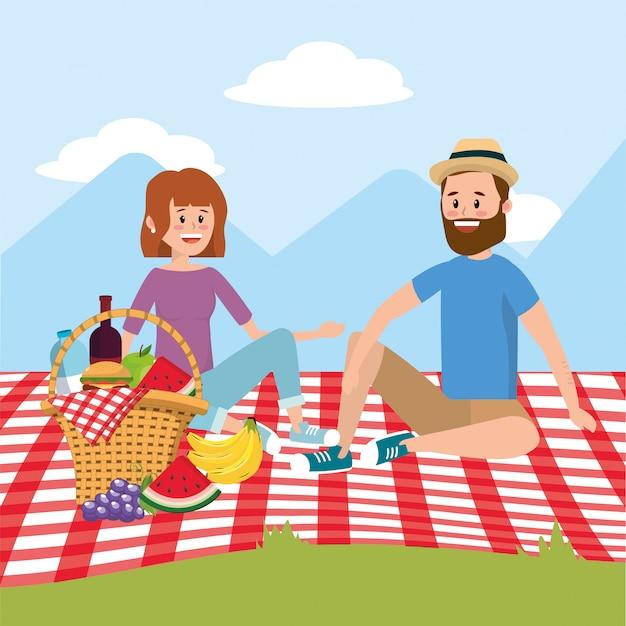 Kobieta i kobieta z zabawy rekreacji piknikowej