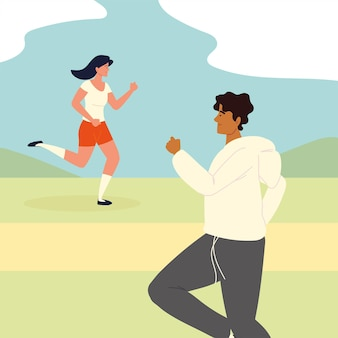 Kobieta I Mężczyzna Biegający W Sporcie Premium Wektorów