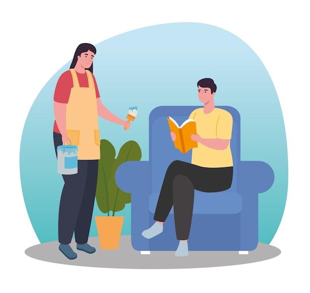 Kobieta i mężczyzna, malowanie i czytanie w domu projekt aktywności i wypoczynku