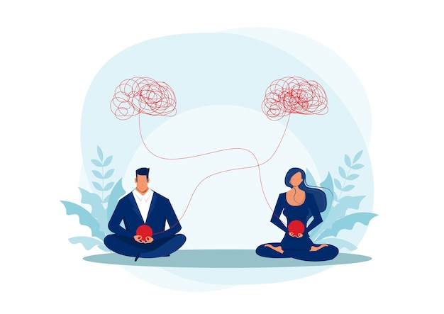 Kobieta i mężczyzna medytacja, ilustracja pomocy psychologa