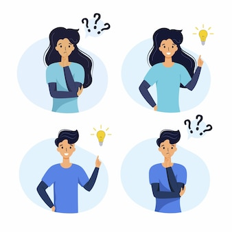 Kobieta i mężczyzna myślą o rozwiązaniu problemu. tworzenie nowego pomysłu. zestaw ilustracji wektorowych dla biznesu.