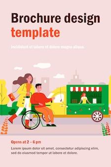 Kobieta i mężczyzna na wózku inwalidzkim, chodzenie na zewnątrz. część miasta, osoba niepełnosprawna, płaska ilustracja asystenta. niepełnosprawność, koncepcja różnorodności